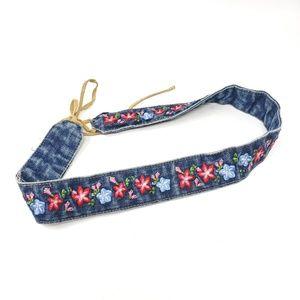 Denim Jean Embroidered Floral Leather Tie Belt